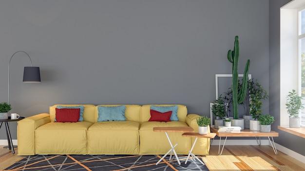 装飾的な植物と大きな窓と空白の空の壁のあるリビングルームのアパートのインテリア