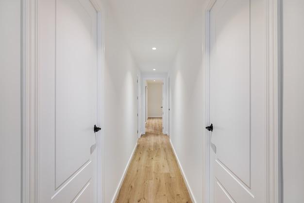 最小限のスタイルで設計されたアパートの閉じたドアの木製の床と白い壁のある細長い廊下のインテリア