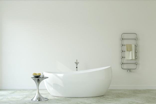 Интерьер современной ванной комнаты. макет стены. 3d визуализация.