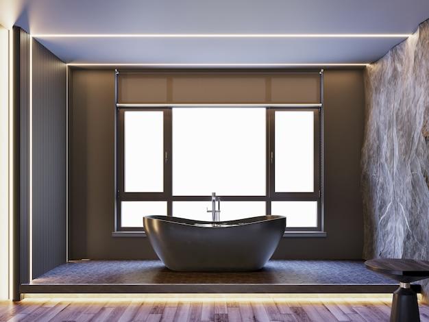 Интерьер современной ванной комнаты с каменной декоративной стеной, деревянным полом и освещением