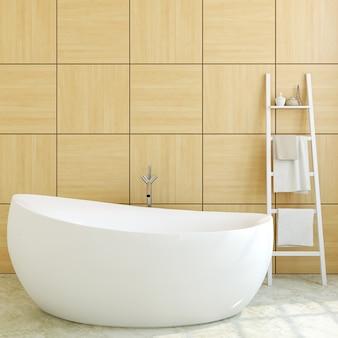 Интерьер современной ванной комнаты с деревянной стеной