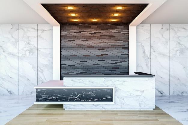 현대적인 호텔 로비 공간과 리셉션 데스크, 3d 렌더링 인테리어