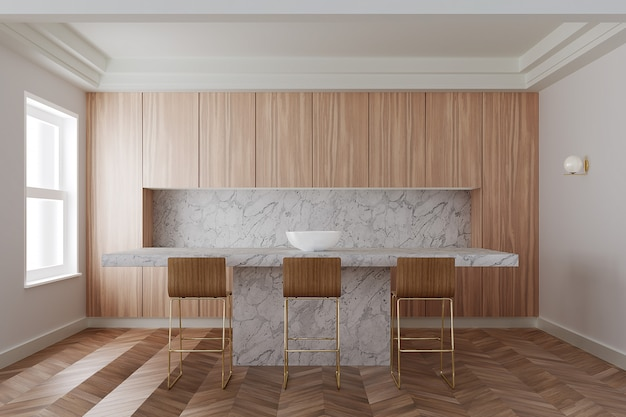 Интерьер современной кухни с деревянными шкафами, длинный белый мраморный бар с деревянными табуретами. 3d рендеринг Premium Фотографии