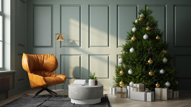 Интерьер современной гостиной с рождественской елкой 3 d рендеринга