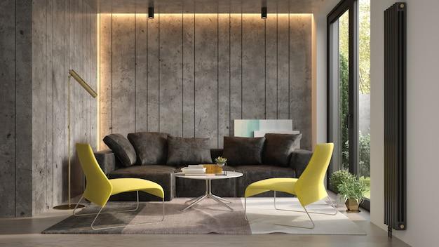 Интерьер современной гостиной с диваном 3 d рендеринга