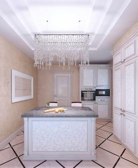 Интерьер новой белой кухни с красивым рисунком фасадных шкафов