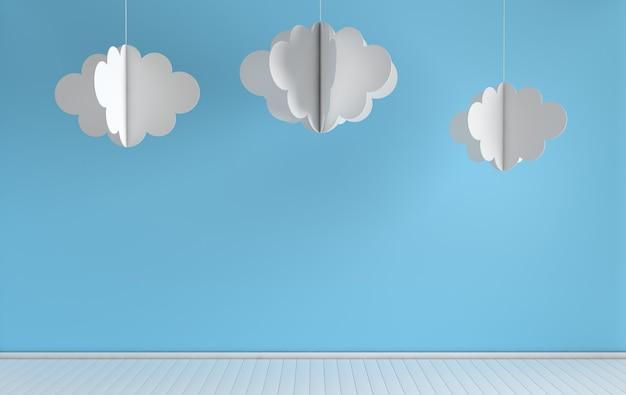 현대 종이 구름 장식으로 보육의 인테리어 렌더링