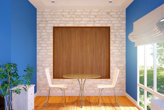 Интерьер частной столовой с макетной стеной, 3d-рендеринг