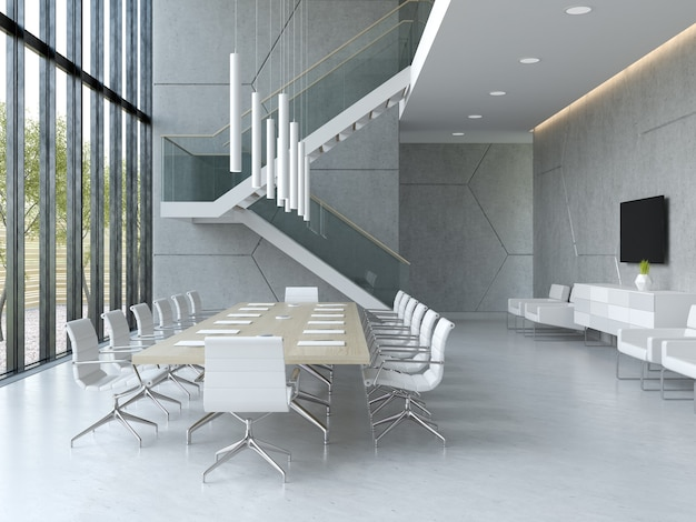 レセプションと会議室のインテリア3dイラスト