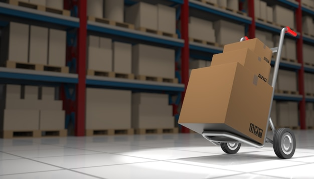 Интерьер склада с картонными коробками и ручной тележкой