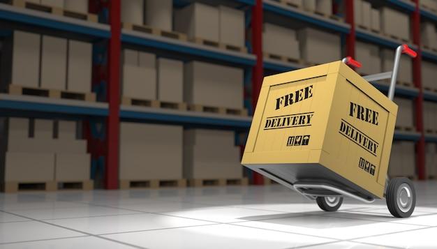 Интерьер склада с бесплатной доставкой и ручной тележкой