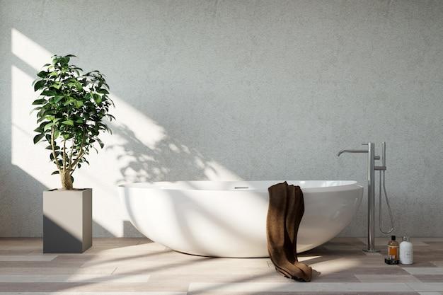 バスルームのインテリア。晴れた日。