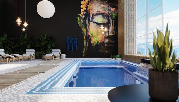오리엔탈 스타일의 실내 수영장 내부. 스파 단지. 파란색과 흰색 세라믹 타일이 늘어선 수영장. 3d 렌더링