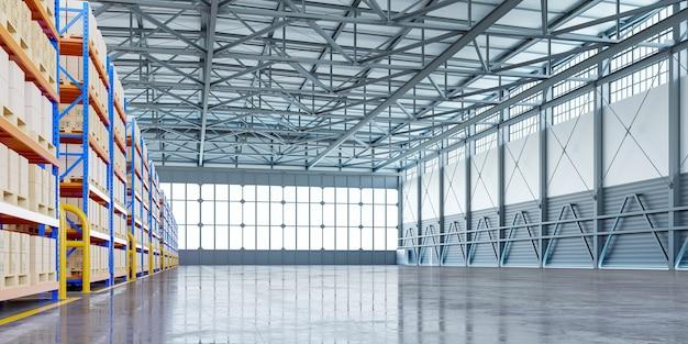 Интерьер склада в логистическом центре. 3d визуализация