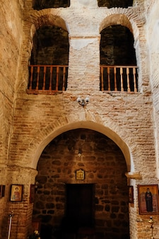 Interior of the old church of the monastery, byzantine medieval monastery, georgian orthodox
