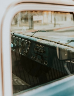 Interior of an old classic car