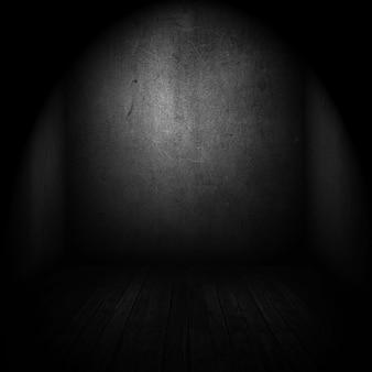 Interno di una vecchia stanza con riflettori