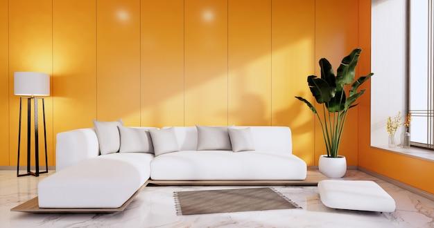 Интерьер, оранжевая гостиная в современном минималистском стиле с диваном на белой стене и полом из гранитной плитки. 3d визуализация