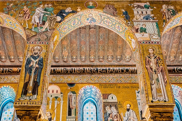 Interior of the palatine chapel in palermo.  italy
