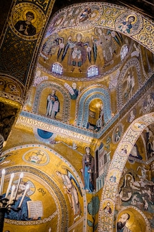 Interior of the palatine chapel in palermo. sicily.