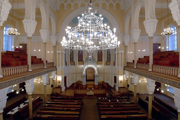 Interior petersburg synagogue russia st chandelier