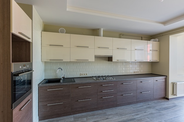 Interior photo of the kitchen in white modern colors