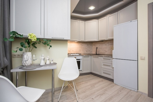 Interior photo of kitchen in white tones modern style