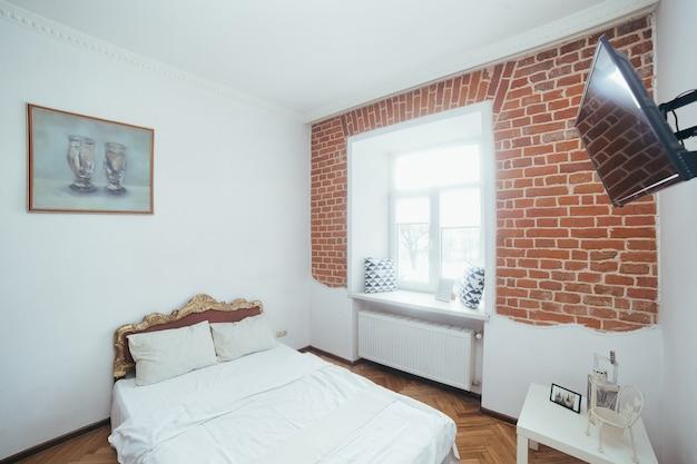 인테리어 사진, 주방과 결합 된 거실, 현대적인 로프트 스타일