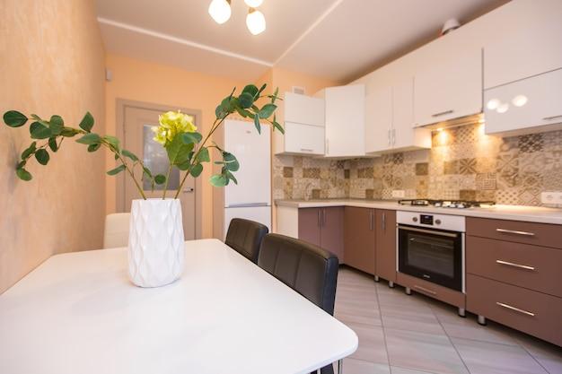 Interior photo of a modern beige kitchen