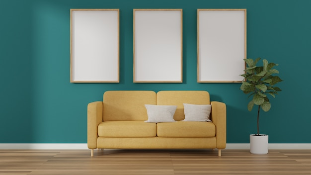 Interior photo poster frames and yellow sofa chair near in the room