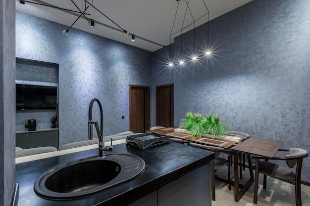 인테리어 사진, 현대적인 주방, 로프트 스타일의 어두운 색상