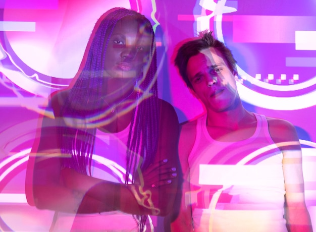 Interior portrait of woman and man in vaporwave style