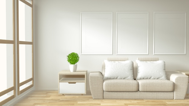 Interior poster frame mock up living room with  white sofa room
