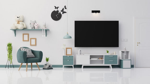 Interior poster living room with colorful white sofa