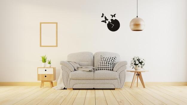 インテリアポスターは、カラフルな白いソファのあるリビングルームを模擬しています。 3dレンダリング。