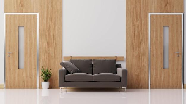 화려한 화이트 소파와 거실을 모의 인테리어 포스터