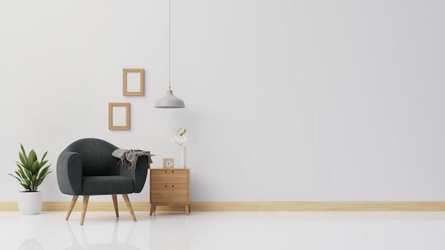 Интерьерный плакат макет гостиной с темным креслом 3d-рендеринга