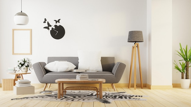 インテリアポスターは灰色のソファー付きのリビングルームを模擬します。 3dレンダリング。