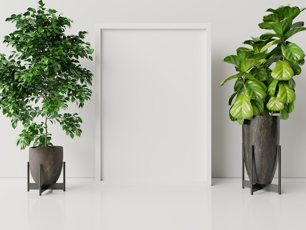 Interior poster mock up with plant pot,flower in room with white wall. Premium Photo