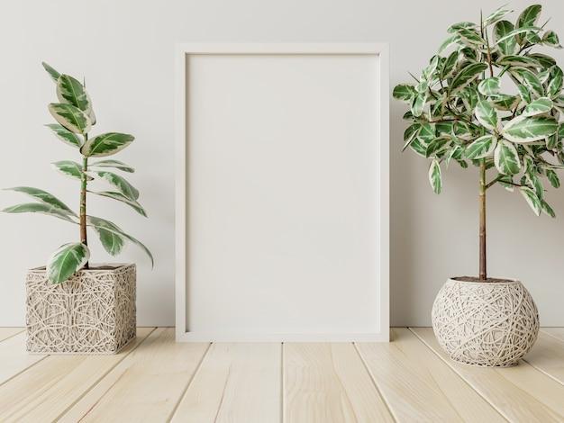 部屋に植木鉢を備えたインテリアポスターモックアップは、後ろに白い壁があります。3dレンダリング