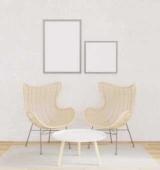 Interior poster mockup with two chairs, wooden floor, carpet with raw concrete wall