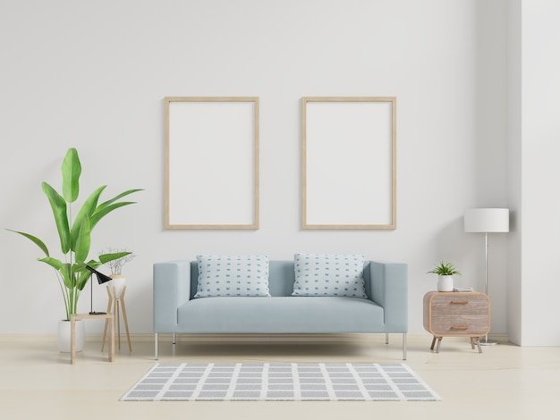 Interior poster mockup with vertical empty wooden frame standing on wooden floor with sofa and cabinet.