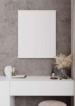 꽃병과 촛불에 팜파스 풀이 있는 콘솔 테이블에 수직 흰색 프레임이 있는 내부 포스터 모형. 3d 렌더링, 그림입니다.