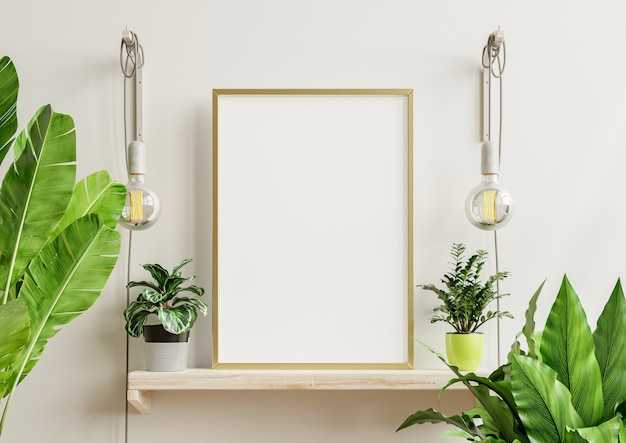 Interior poster mockup with vertical wooden frame in home interior background,3d rendering
