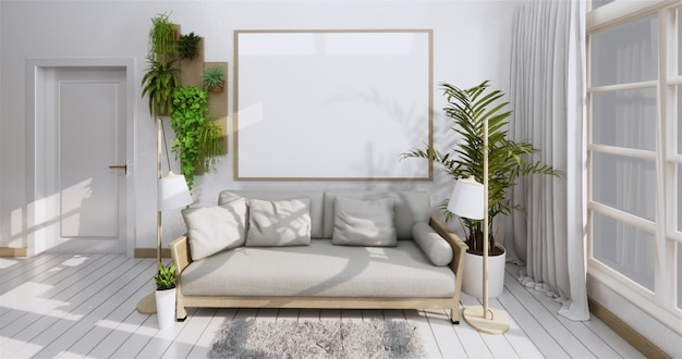 Interior poster with frame, sofa, plant and lamp in living room zen style. .