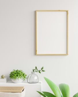 Interior poster with vertical empty wooden frame in scandinavian style, 3d rendering