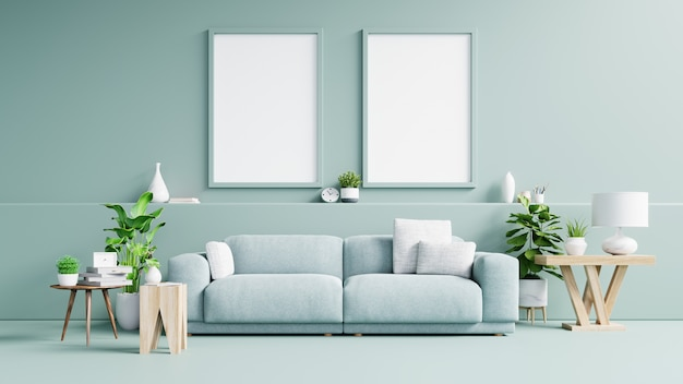 Interior poster  with vertical empty wooden frame standing on wooden floor with sofa and cabinet.