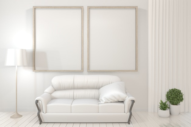 Interior poster  wooden frames, sofa, plant and lamp in living room with white wall minimal design.