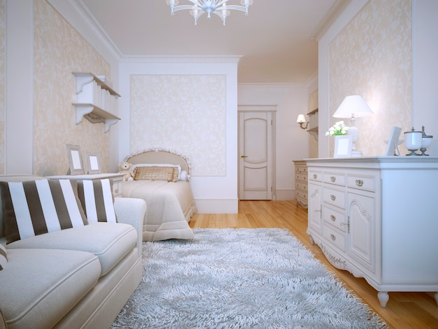 Interior of a provence style bedroom