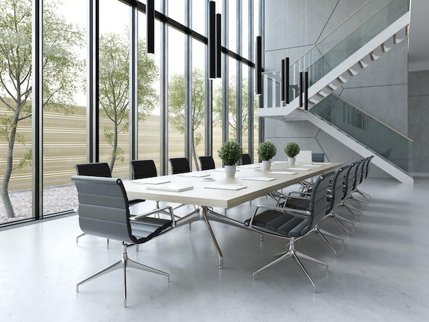 Interior of reception and meeting room 3 d illustration
